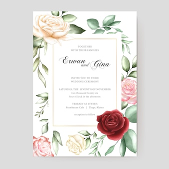 Carte de modèle invitation mariage aquarelle