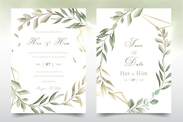 Carte de modèle invitation mariage élégant feuillage aquarelle