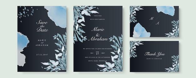 Carte de modèle d'invitation de mariage sertie de congé aquarelle bleuâtre et branche sur fond noir