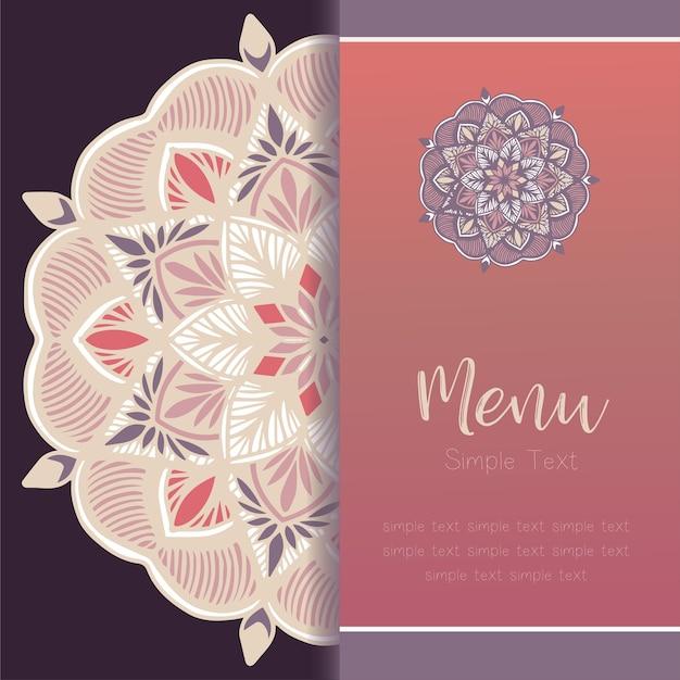 Carte de modèle de mandala, carte de voeux invitation set vector.