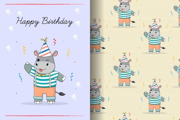 Carte et modèle sans couture anniversaire hippopotame mignon