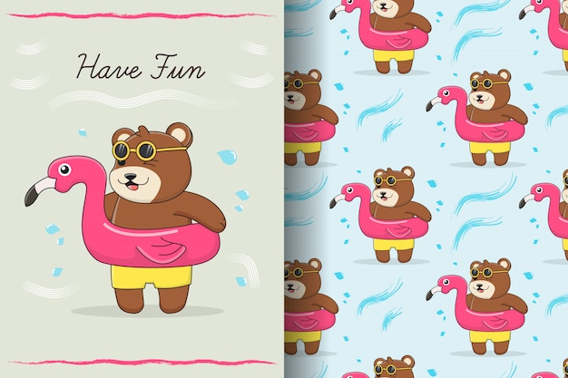 Carte et modèle sans couture de bague de bain flamingo ours mignon