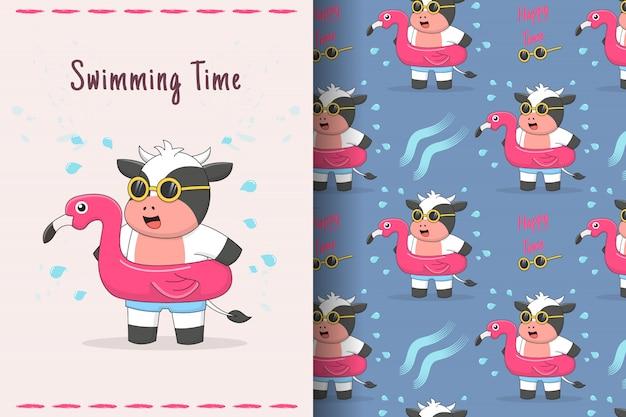 Carte et modèle sans couture de caoutchouc flamingo mignon vache natation