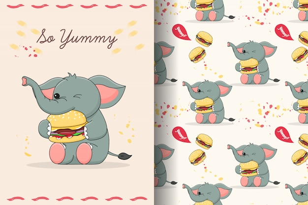 Carte et modèle sans couture d'éléphant mignon manger burger
