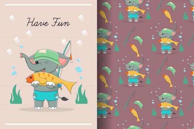 Carte et modèle sans couture d'éléphant de pêche mignon