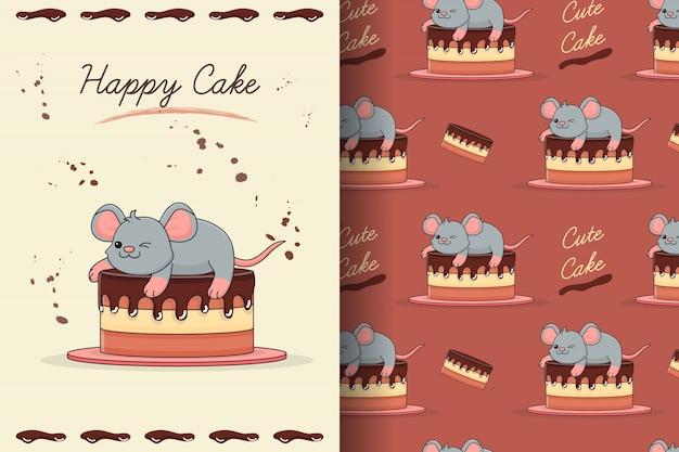 Carte et modèle sans couture de gâteau souris mignon