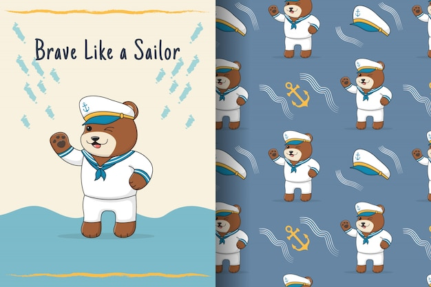 Carte et modèle sans couture de marin ours mignon