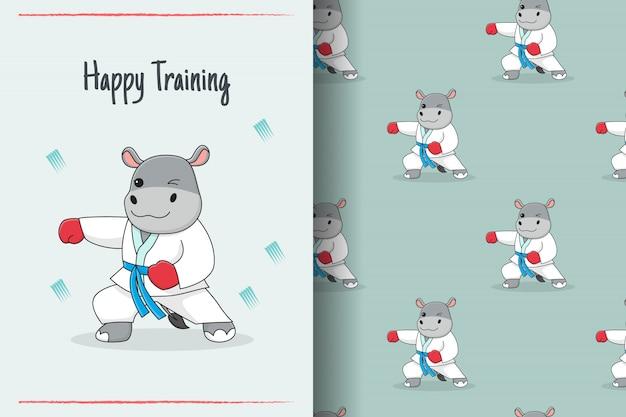 Carte et modèle sans couture martial mignon hippopotame