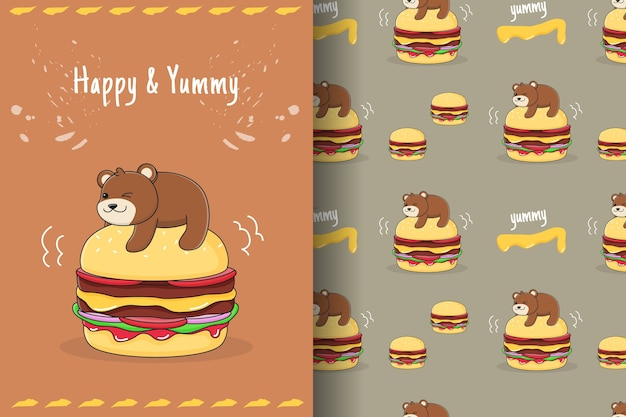 Carte et modèle sans couture mignon burger bear