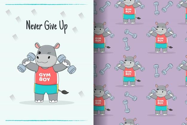 Carte et modèle sans couture mignon haltère hippopotame