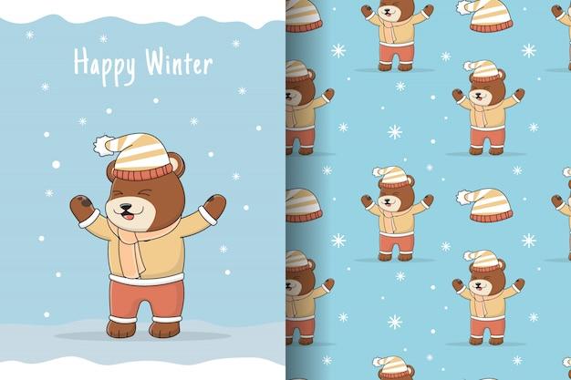 Carte et modèle sans couture mignon hiver ours