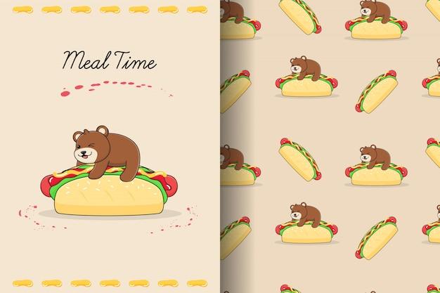 Carte et modèle sans couture mignon hot-dog ours