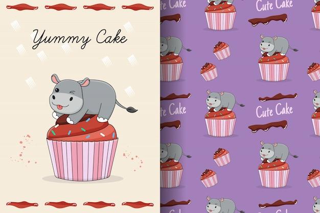 Carte et modèle sans couture mignon petit gâteau hippopotame