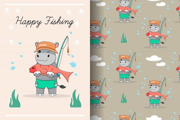Carte et modèle sans couture de pêcheur mignon hippopotame