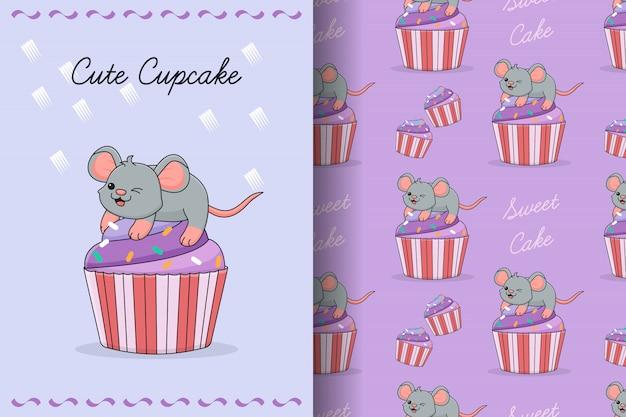 Carte et modèle sans couture de souris mignon cupcake