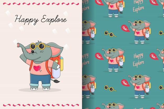 Carte et modèle sans couture de voyageur éléphant mignon