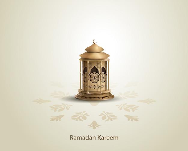 Carte de modèle de voeux islamique avec lanterne d'or