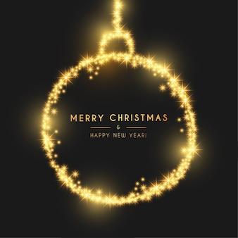 Carte moderne joyeux noël et bonne année avec boule de lumière dorée
