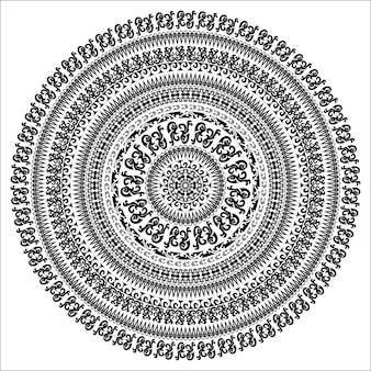 Carte monochrome d'ornement avec mandala. forme vectorielle ornementale ronde isolée sur blanc. illustration vectorielle dans les couleurs noir et blanc.