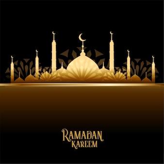 Carte de mosquée dorée ramadan kareem