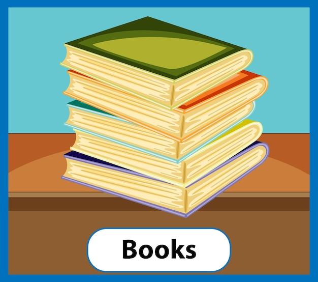 Carte de mot anglais éducatif de livres