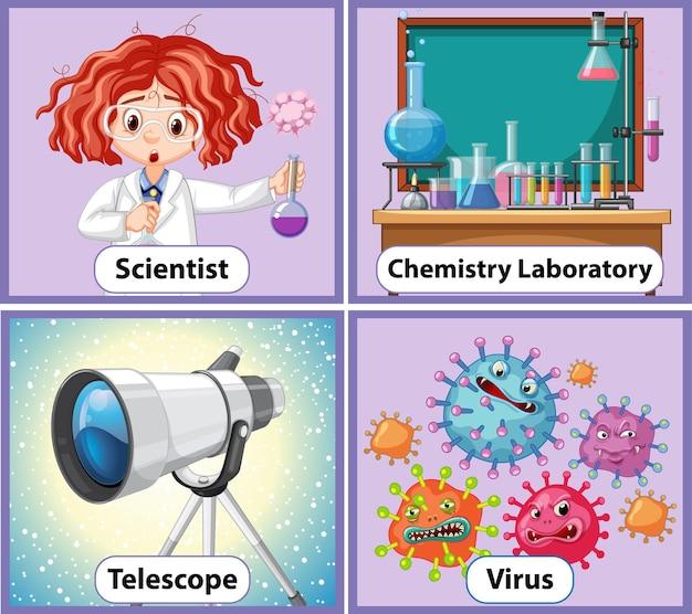 Carte de mot anglais éducatif d'objets de chimie