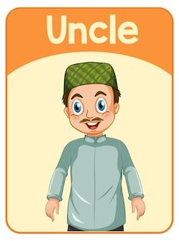 Carte de mot anglais éducatif de l'oncle