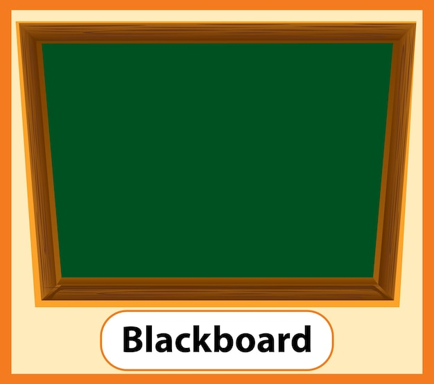 Carte de mot anglais éducatif de tableau noir