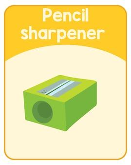 Carte de mot anglais éducatif de taille-crayon