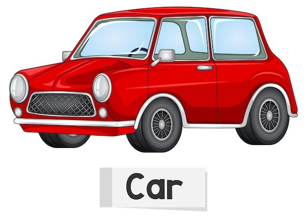 Carte de mot anglais éducatif de voiture