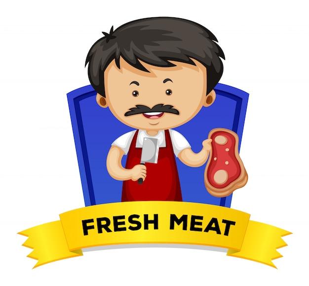 Carte de mot avec de la viande fraîche de mot