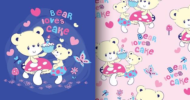 Carte et motif d'ours mignon dessiné à la main