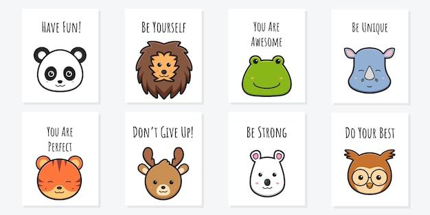 Carte de motivation affiche animal mignon doodle illustration de dessin animé conception de style dessin animé plat