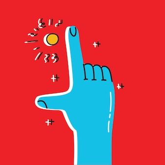 Carte de motivation de vecteur avec la main pointant sur fond vintage élégant dans un design tendance cool