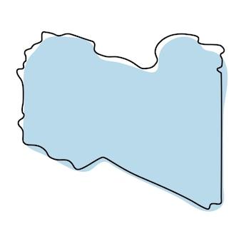 Carte muette simple stylisée de l'icône de la libye. croquis bleu de l'illustration vectorielle de la libye