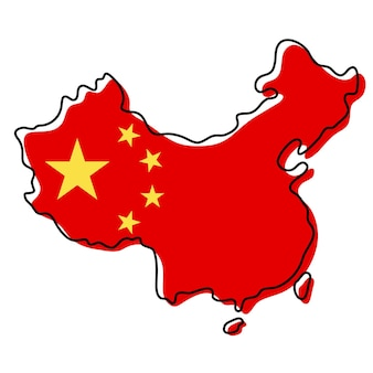 Carte muette stylisée de la chine avec l'icône du drapeau national. carte de couleur du drapeau de l'illustration vectorielle de chine.