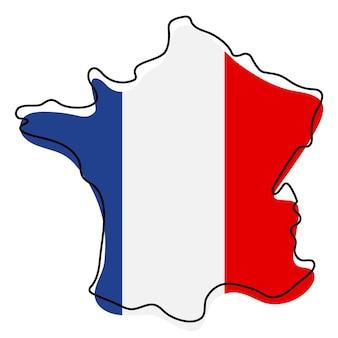 Carte muette stylisée de la france avec l'icône du drapeau national. carte de couleur du drapeau de l'illustration vectorielle de france.