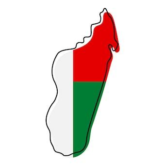 Carte muette stylisée de madagascar avec l'icône du drapeau national. carte de couleur du drapeau de l'illustration vectorielle de madagascar.