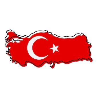 Carte muette stylisée de la turquie avec l'icône du drapeau national. carte de couleur du drapeau de l'illustration vectorielle de turquie.