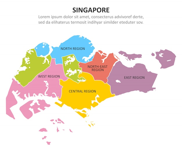 Carte multicolore de singapour avec les régions.