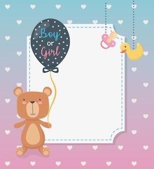 Carte de naissance avec un ourson en peluche et des ballons à l'hélium