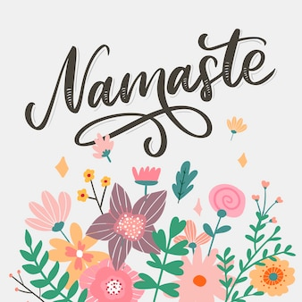 Carte namaste dessiné à la main. bonjour en hindi. illustration d'encre. fond de lettrage dessiné à la main. sur fond blanc. citation positive. calligraphie au pinceau moderne.