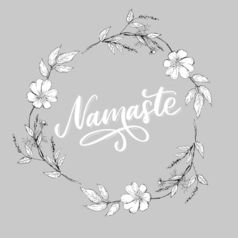 Carte namaste dessiné à la main. bonjour en hindi. illustration d'encre. fond de lettrage dessiné à la main. isolé sur fond blanc. citation positive. calligraphie au pinceau moderne.