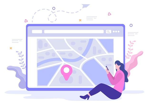 La carte de navigation gps et la boussole sur l'application de recherche de position indiquent la position ou l'itinéraire que vous suivez. illustration vectorielle de fond