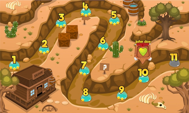 Carte de niveau de jeu du far west