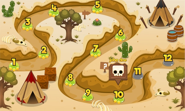 Carte de niveau de jeu de la tribu indienne