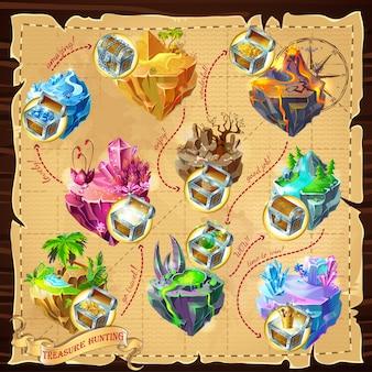 Carte des niveaux de jeu isométrique