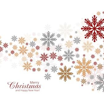 Carte de noël abstrait fond décoratif de flocons de neige colorés