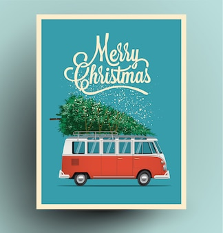 Carte de noël ou une affiche avec une voiture de bus van rouge rétro avec arbre de noël sur le toit.