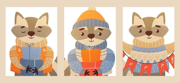 Carte de noël avec des animaux joyeux noël et nouvel an
